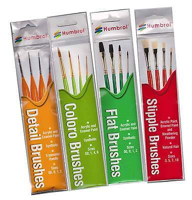 Humbrol Paint Brush Packs 4 Different Brushes In Each Pack Choose From List New • 14.99£