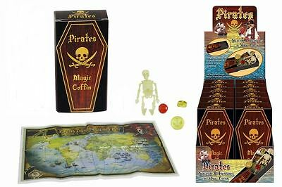 PIRATE SKELETON IN MAGIC COFFIN Toys Joke Boys Gift Present Birthday Box Skull • 5.25£