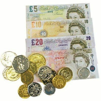 Play Money Set With Coins Children Kids Fake Notes Paper Pounds Party Bag Filler • 2.01£