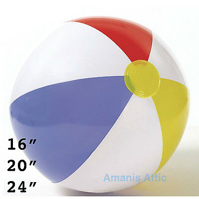 Inflatable Panel Blow Up Beach Ball 16  20  24  Holiday Party Swimming Garden  • 2.99£