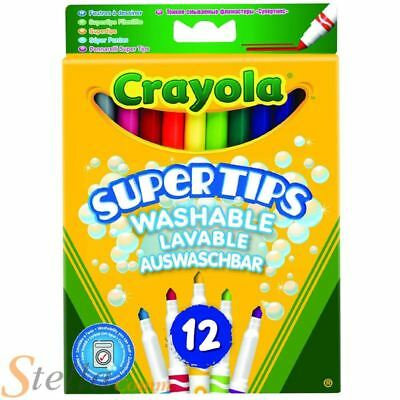 12 Crayola Bright Colour Supertips Pens Colouring Childrens Art Drawing • 3.49£