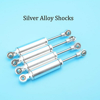 4pcs Shock Absorber Silver Alloy Shocks For 1/10 RC Crawler CC01 D90 SCX10 #1542 • 26.99£