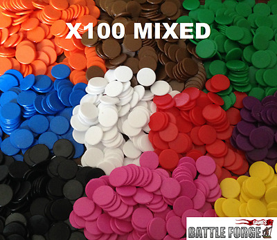 22mm Plastic Board Game Counters Tiddly Winks Numeracy Teaching - 100 Mixed  • 2.09£