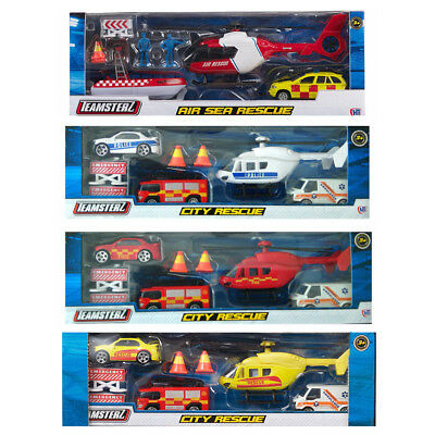 Emergency Vehicles 8 Pack Ambulance Helicopter, Fire, Rescue, Toy Cars Die Cast • 9.89£