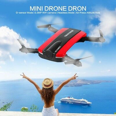 RECHARGEABLE TRACKER SELFIE DRONE Hold HD Camera WIFI Foldable Pocket   • 19.99£