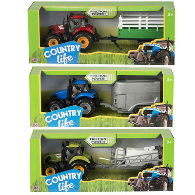 Friction Tractor Toy & Trailer Farm Toy Children 25cm 3 Colours Play Set • 8.49£