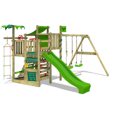 Wooden Climbing Frame FATMOOSE CrazyCoconut With Double Swing, Slide & Sandpit • 619.95£