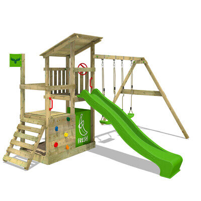 Wooden Climbing Frame FATMOOSE FruityForest - Swing Set With Slide And Sandpit • 469.95£
