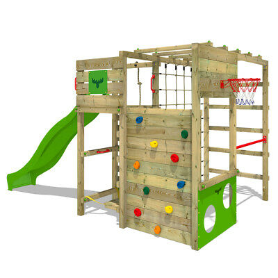 Wooden Climbing Frame FATMOOSE FitFrame - Playground With Slide & Crazy Board • 799.95£