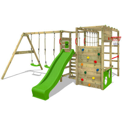 Wooden Climbing Frame FATMOOSE ActionArena - Swing Set With Apple Green Slide • 579.95£