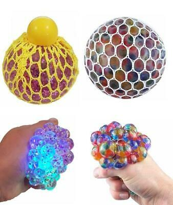 Mesh Squish Ball 7cm With Beads & Light Up • 3.99£