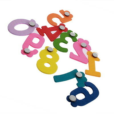 New Magnetic Wooden Numbers 0-9 Brightly Coloured Patterns Educational Toy  • 3.89£