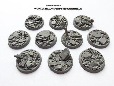25mm, 32mm, 40mm Urban Rubble Resin Cast Bases For Wargaming MULTI LISTING • 9.49£