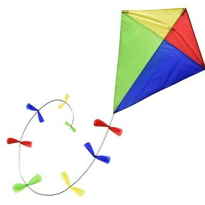 Traditional Diamond Kite With Bow Trail Tail • 12.79£