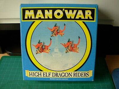 Fantasy Man O'War High Elf Dragon Riders Set Of 3 In Original Box Rare OOP • 29.99£