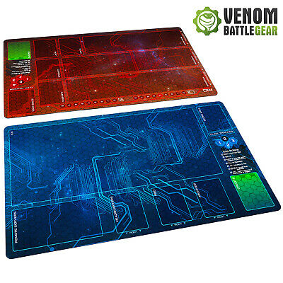 Android Netrunner LCG  Playmats Corp & Runner RED/BLUE Set Fabric Rubber Backed • 31.99£