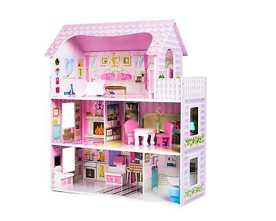 Childrens Wooden Dolls House Complete With Accessories • 46.99£