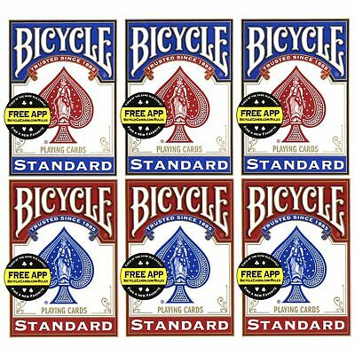 Bicycle Standard Playing Cards Red & Blue Decks 1, 2, 4 Or 6 Packs Made In USA • 16.99£