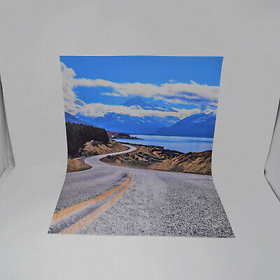Model Car Backdrop Background Sheet 1:24 Scale Diorama Mountain Road New Zealand • 14.99£
