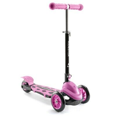 3 Wheeled Scooter Kids Tri Folding Tilt To Turn Adjustable Push Ride On RideStar • 24.99£