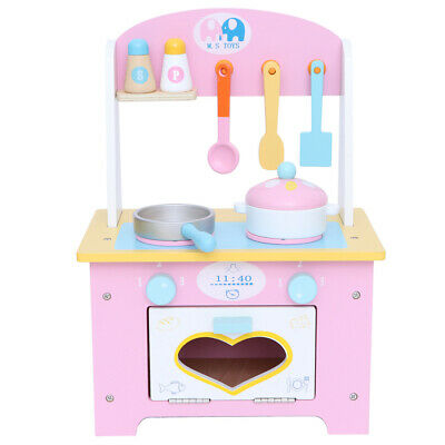 Wooden Play Kitchen Large Childrens Toy Kids Play Set Cooking Role Pretend Pink • 25.09£