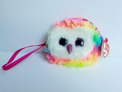 Ty OWEN The OWL Rainbow Plush Zipped  Wristlet Coin Purse. Original Ty With Tags • 4.99£