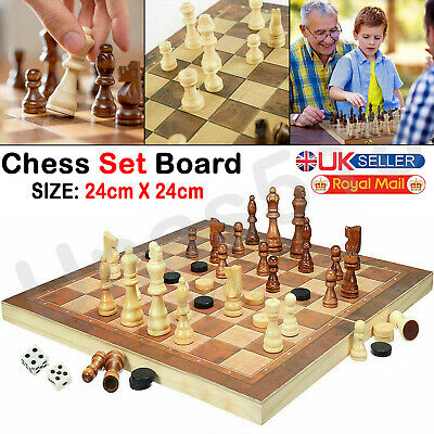 Folding 3 In 1 Wooden Chess Set Board Game Checkers Backgammon Draughts • 5.99£