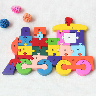 Wooden Alphabet/numbers Jigsaw Train Puzzle Kids Toys Children Educational • 7.99£