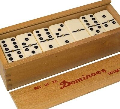 Double Six Club Pub League Dominoes With Spinners - Set Of 28 In Wooden Box UK • 12.99£