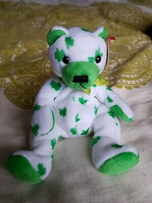 Ty - Beanie Babies - Clover Irish Sit Up Bear With Tag - Teddy Collectible Toy • 4£