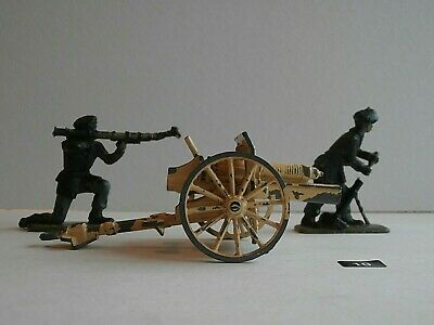 Vintage CRESCENT TOYS  Field Gun Carriage And Two Soldiers - Very Old • 9.99£