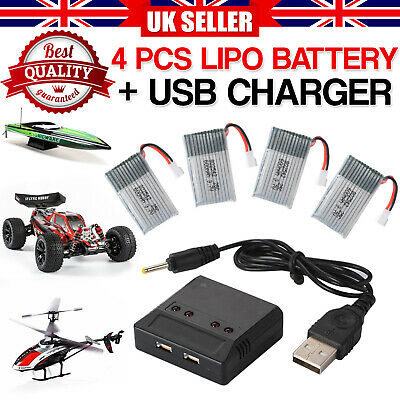 4pcs 3.7V 600mAh Lipo Battery + Charger For Syma X5C F5C X5SW RC Drone Kids Play • 8.75£