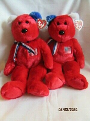 Ty Beanie Buddy America Red Two Bears Retired With Tag - Mint Condition • 29.99£
