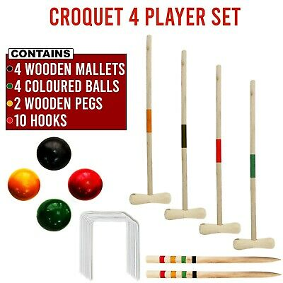 Croquet Set Wooden Mallet Kids Lawn Game Garden 4 Player Outdoor Fun • 33.99£