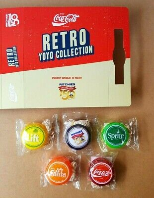New - Coca Cola Retro YoYo Collection With Case Ritchies Sprite Fanta Lift Set  • 85.20£