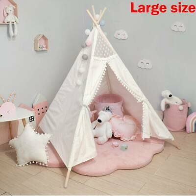 Large Canvas Kids Teepee White Tent Childs Wigwam Indoor Outdoor Play House Gift • 39.99£