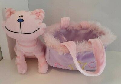 Pink Stripy Plush Cat With Meowing Voice Box And Feather Lined Carry Handbag • 10£