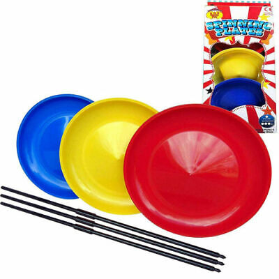 Spinning Plates Set Of 3 With Sticks Outdoor Jugglings Circus Game Toys • 6.79£