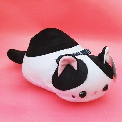 Large 40cm Long Kawaii Neko Cat Plush Cute Bread Loaf Black And White Kitten • 9.99£