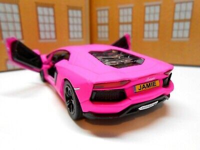 PERSONALISED PLATES PINK LAMBORGHINI TOY CAR MODEL Boy Girl Dad BIRTHDAY NEW • 8.95£