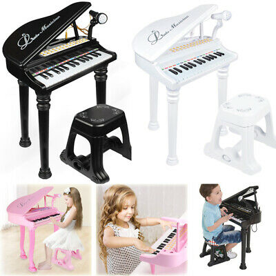Boy Girl Kids Electronic Musical Keyboard Grand Piano With Stool Microphone Toy • 25.96£