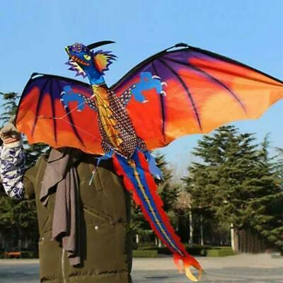 3D Dragon Kite Single Line With Tail Family Outdoor Sports Toy Kids Best Gifts • 8.55£
