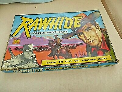 Rare Vintage Board Game RAWHIDE Cattle Drive 1960;s TV Show With Clint Eastwood • 12£