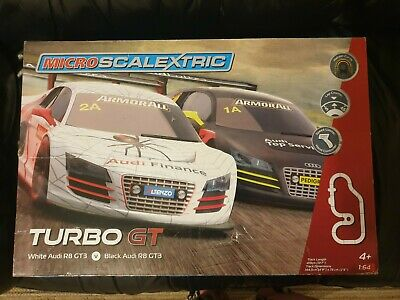 Micro Scalextric Set - Turbo GT Audi R8s Excellent Condition  • 20£