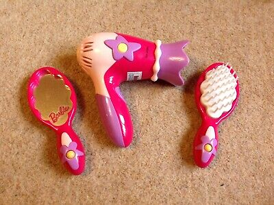 Barbie Toy Hairdryer, Brush And Mirror - Pink • 2£