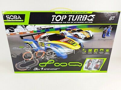 TOP TURBO 1:43 Large Remote Control Slot Car Racing Track Set Childrens Toy Game • 44.99£
