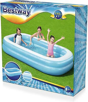 Bestway Family Rectangular Inflatable Pool, 262 X 175 X 51 Cm, Blue / White • 32.99£