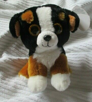 Cute Brown Black And White Fluffy Toy Dog Height 6.5ins • 3£