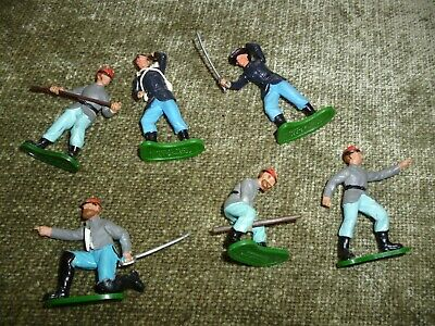 Joblot 6 Britains American Civil War Moveable Heads Arms Toy Soldiers C70s • 9.99£