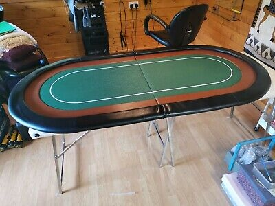 Folding Poker Table Top In Green Speed Cloth 180cm With Armrest Inc Case • 10£